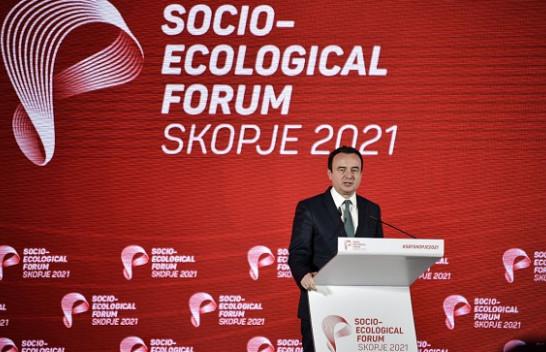 Kurti në Forumin socio-ekologjik në Shkup: Jemi plotësisht të përkushtuar për të ndjekur një tranzicion të energjisë së pastër
